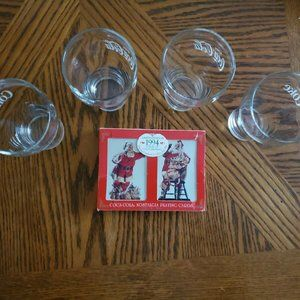 Genuine Coca Cola Drinking Glasses & Playing Cards